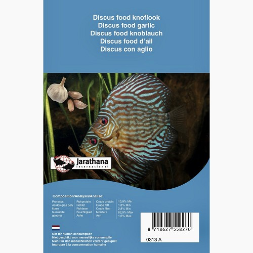 Frozen Discus food with garlic in blister pack